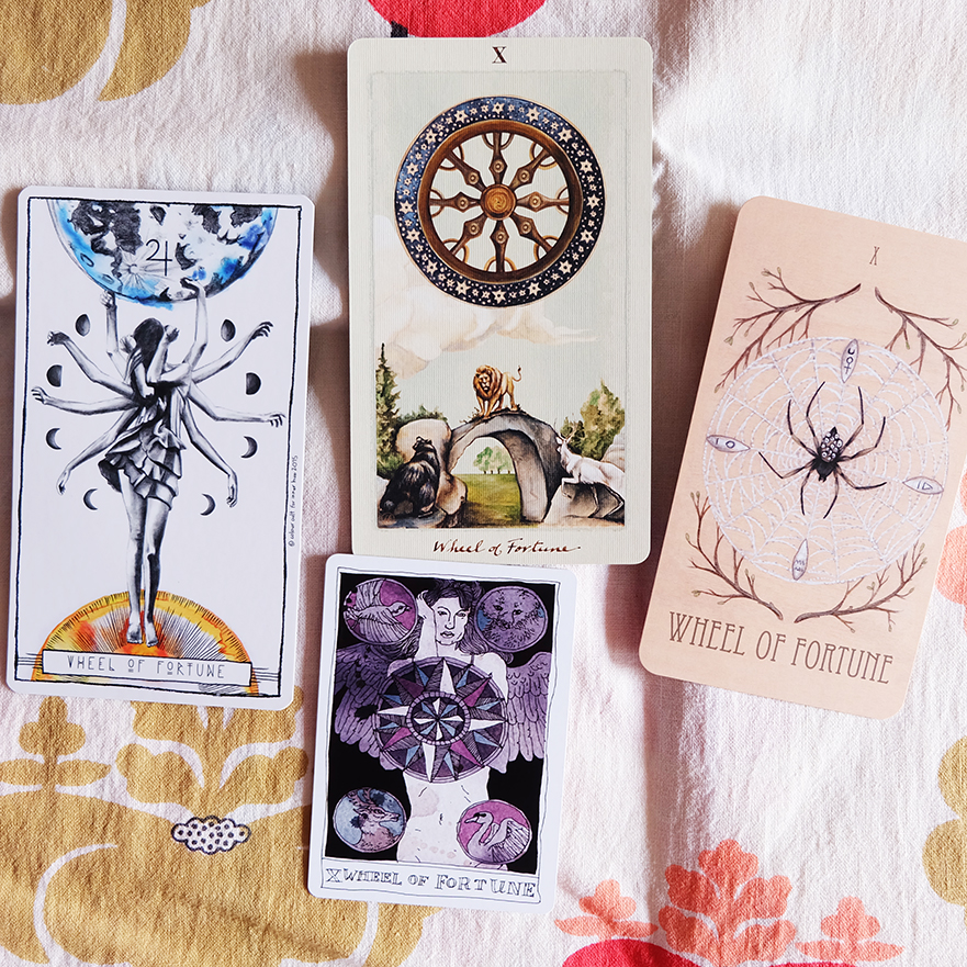 Decks used: Lumina Tarot (Inner Hue, Lauren Aletta), Pagan Otherworlds Tarot (UUSI Design), Wooden Tarot (Skullgarden), Black Lilly Tarot (Aya Rosen, Gamecrafter)
