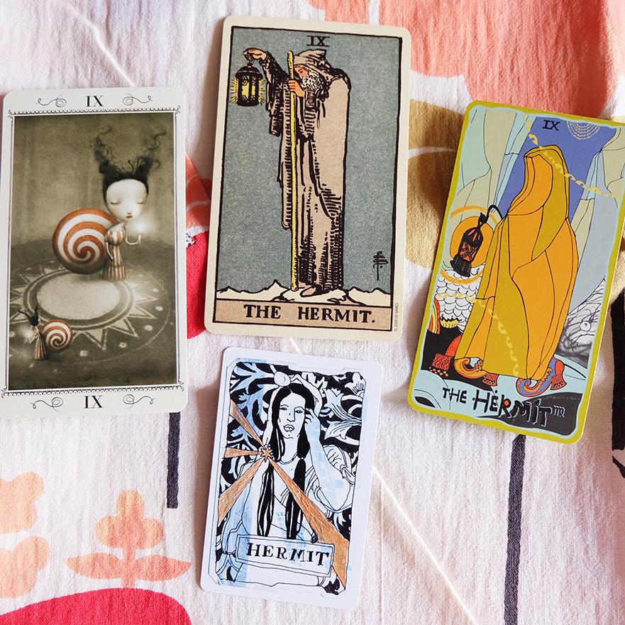 Decks used: Nicoletta Ceccoli Tarot (Lo Scarabeo), Centennial Smith-Waite Tarot (Pamela Colman-Smith, US Games), Sakki Sakki Tarot (Monicka Clio Sakki), Metro Tarot Cards (Aya Rosen, Gamecrafter)