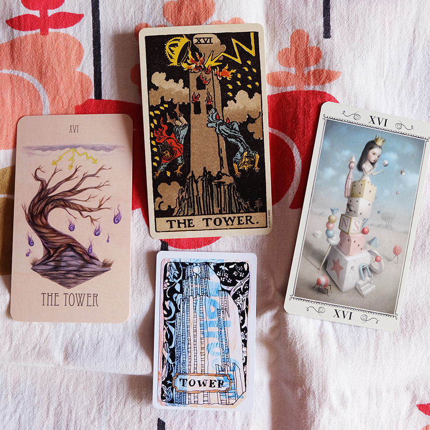 Decks used:  Wooden Tarot  (Skullgarden),  Centennial Smith-Waite  (Pamela Colman Smith, US Games),  Nicoletta Ceccoli Tarot  (Nicoletta Ceccoli, Lo Scarabeo),  Metro Tarot Cards  (Aya Rosen, Gamecrafter)