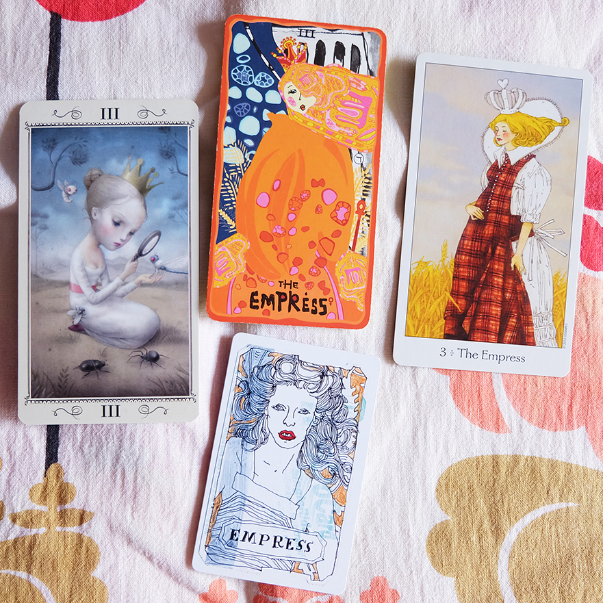 Decks used:  Nicoletta Ceccoli Tarot  (Nicoletta Ceccoli, Lo Scarabeo);  Sakki-Sakki Tarot  (Monicka Clio Sakki);  Dreaming Way Tarot  (Rome Choi and Kwon Shina, US Games);  Metro Tarot Cards  (Aya Rosen, Gamecrafter)