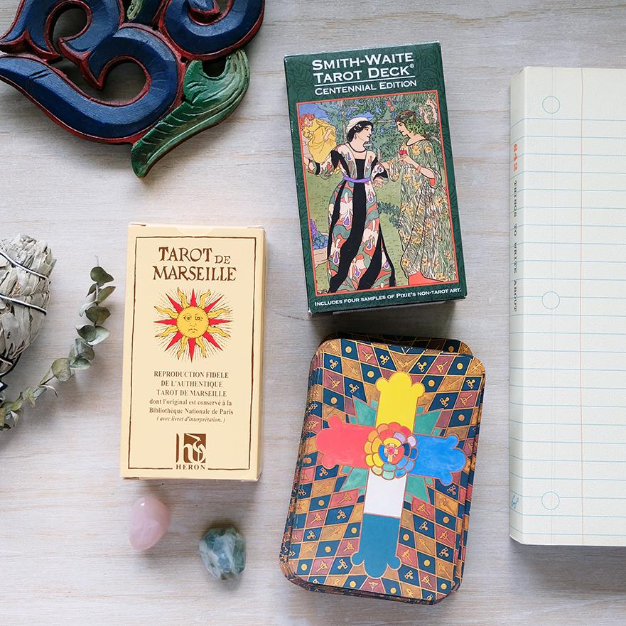 Decks used:  Tarot de Marseille  (Nicolas Conver, Heron),  Centennial Smith-Waite  (Pamela Colman-Smith, US Games),  Thoth Tarot  (Aleister Crowley, AGM Urania)