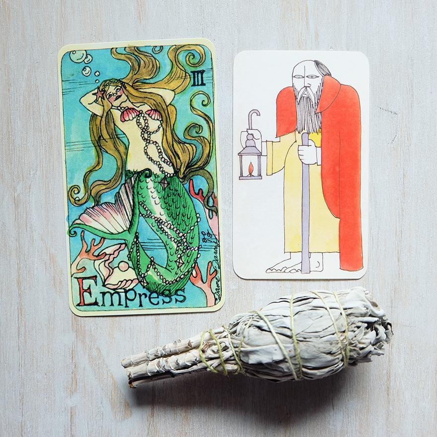 Decks Used:  Dame Darcy Mermaid Tarot  and  Crippa Tarot  (Ferdinand Crippa, Il Meneghello)