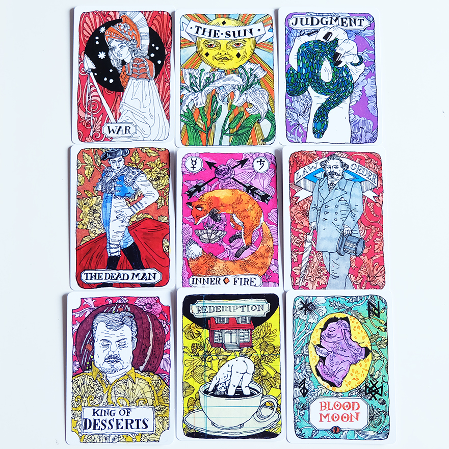 """Many of the new cards are """"named"""" much like our Major Arcana tarot cards. I like how inventive these key words are and how they give the deck a sense of (perhaps pretend) structure. You'll even spot some similarities between Major Arcana cards and these ones—see The Sun!"""