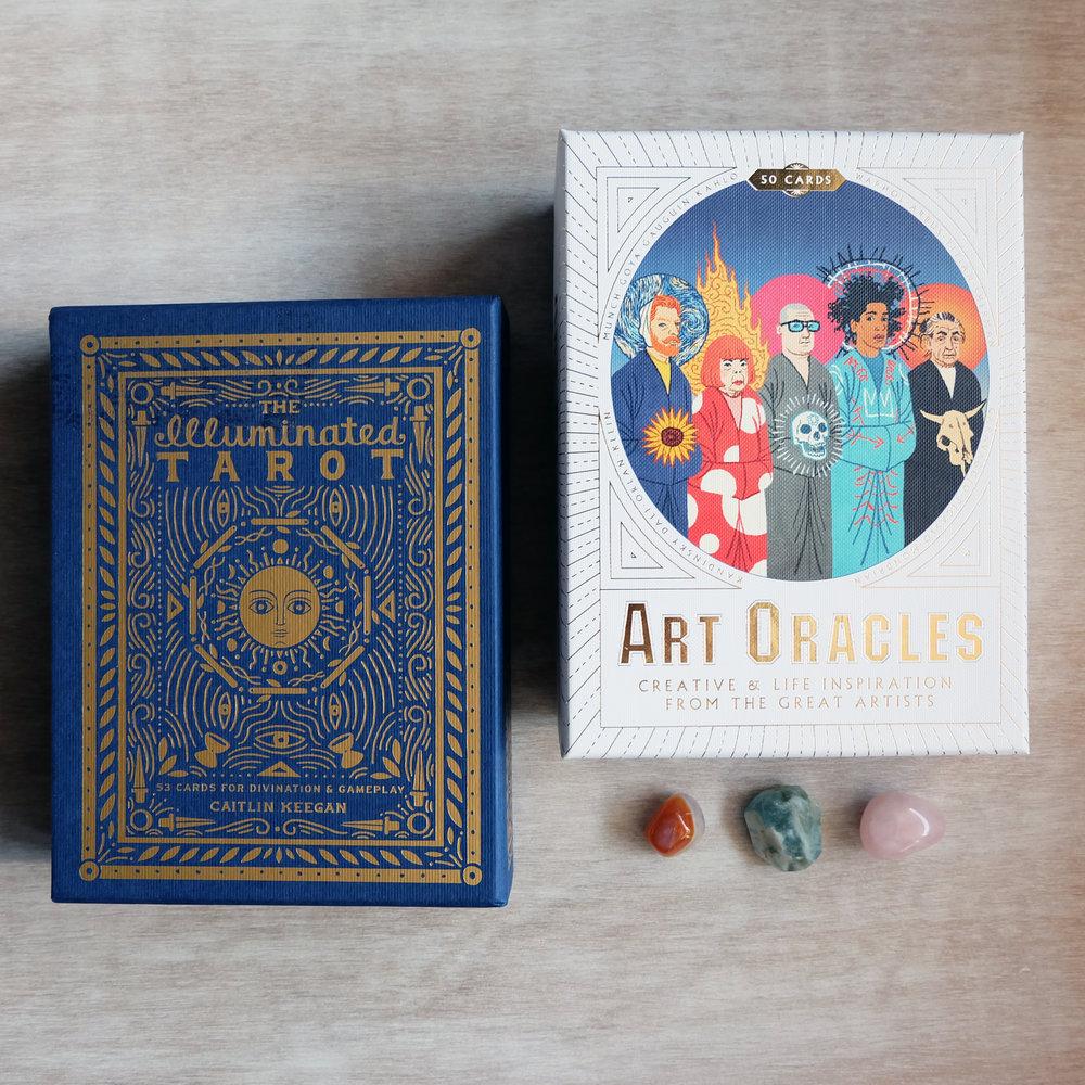 Decks used:  The Illuminated Tarot  (Caitlin Keegan, Clarkson Potter) and  Art Oracles  (Katya Telvich and Mikkel Sommer Christensen, Laurence King Publishing)