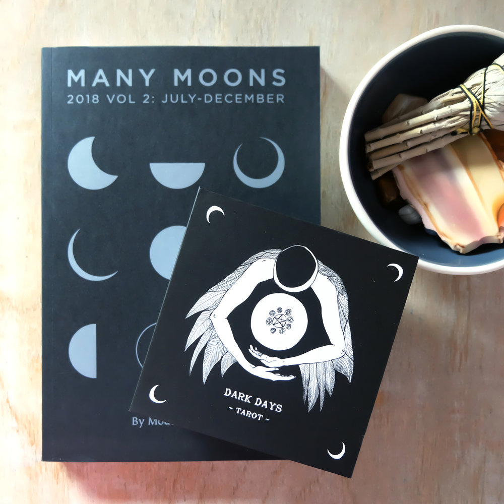 """In photo:  """"Many Moons 2018 Vol 2: July - December""""  by Modern Women and  Dark Days Tarot  by Wren McCurdo"""