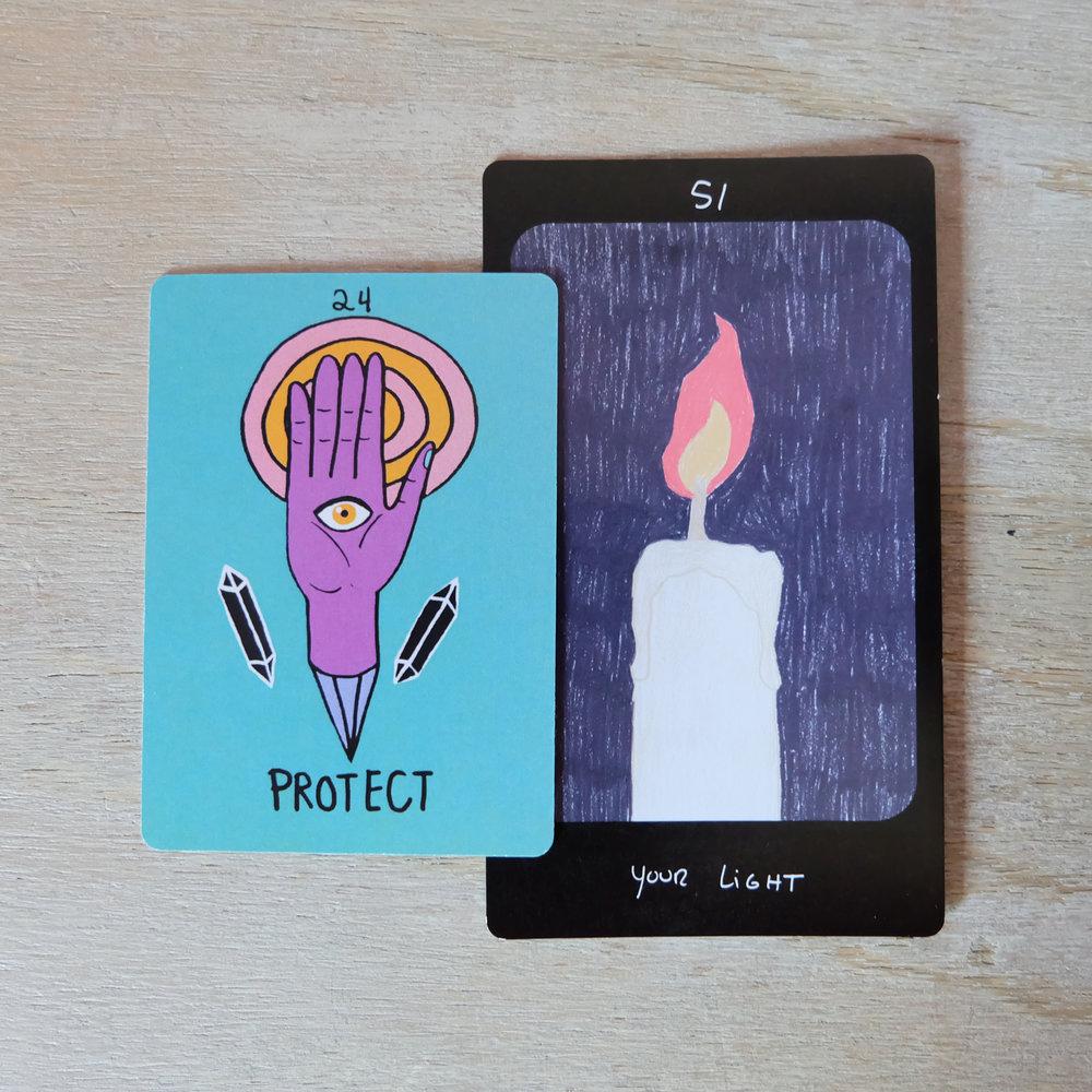 Decks used:  Strange Lands Oracle  (Circo Tarot, Marisa dela Peña) and  Iris Oracle Deck  (Spirit Speak, Mary Elizabeth Evans)