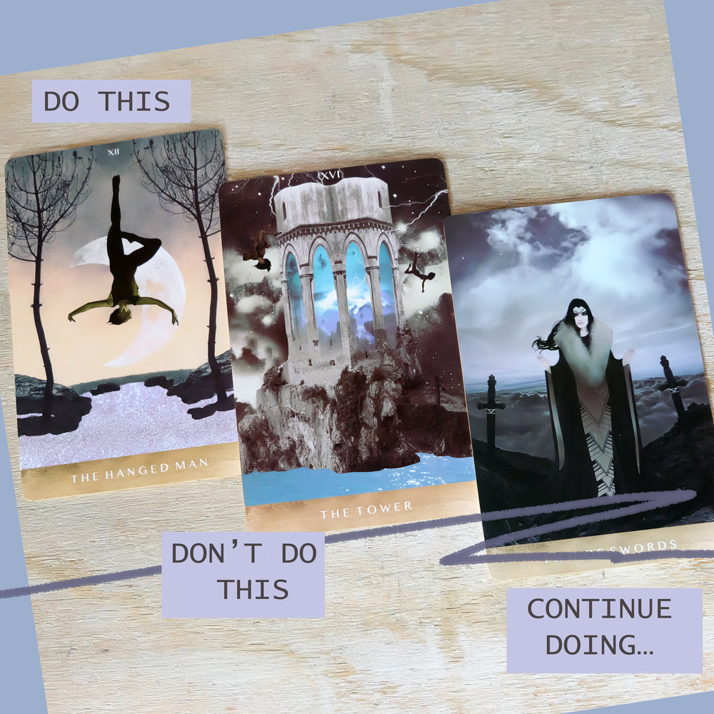 To help ease my mind as I wait for the visa processes to be over, I pulled these three cards. Notice how ominous the colors are compared to the rest of my trip! LOL, a valid reflection of how anxious I am at the moment. The Hanged Man is affirmation that I need to go through this very uncomfortable process before I come out on the other side. I need to stop anticipating the worst, as per The Tower. And I ought to continue the process of introspection, however conflicting it makes me feel (2 of Swords).