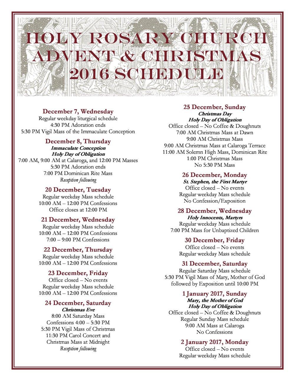 Christmast Schedule 2016