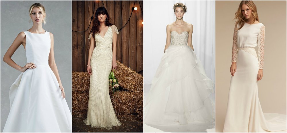 Dresses via  Oscar de la Renta ,  Jenny Packham ,  Reem Acra , and  BHLDN