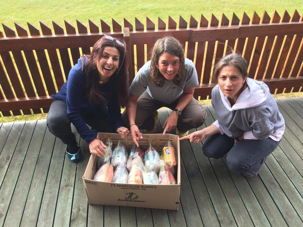 Lara (Jordan), Susan (France) and Steph (Cyprus) show off their incredibly neat expedition rations - something for the rest of the team to aspire too!