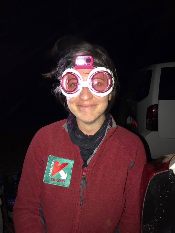 We were all impressed with Steph's new sand-protection goggles - especially with the matching headtorch combo - but we don't think it will catch on.