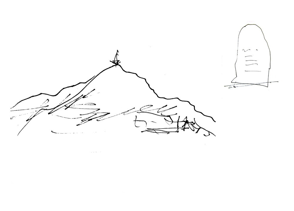 The Assignment: A star on Buzludzha and three monuments at the foot. (Sketch by architect Georgi Stoilov, 26th June 2014)