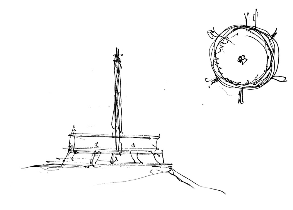 First Prize: A ring with six columns, around tower bearing a star. (Sketch by architect Georgi Stoilov, 26th June 2014)