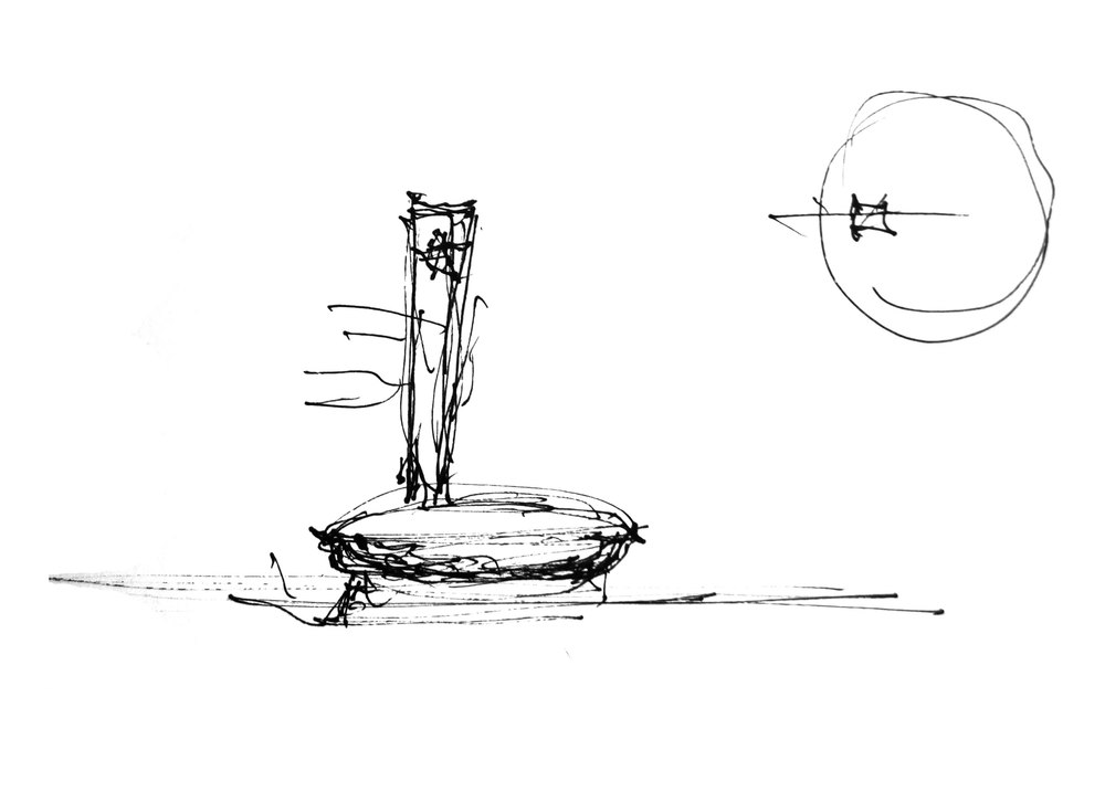 3. Answering the need for an interior visitor space, Stoilov designs a spherical body in place of the ring. (Sketch by architect Georgi Stoilov, 26th June 2014)