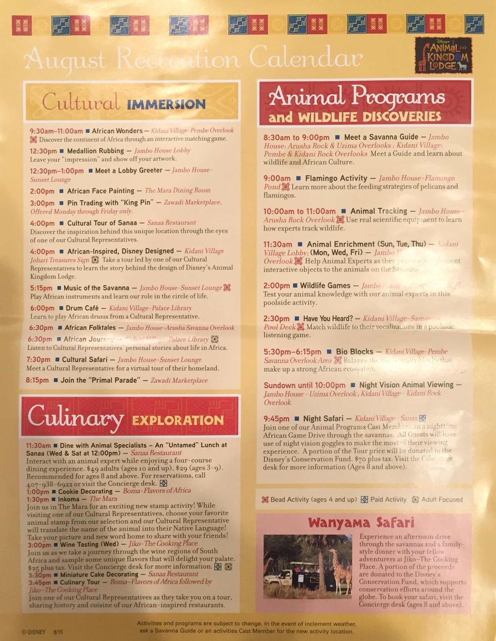 Activities sheet August 2015