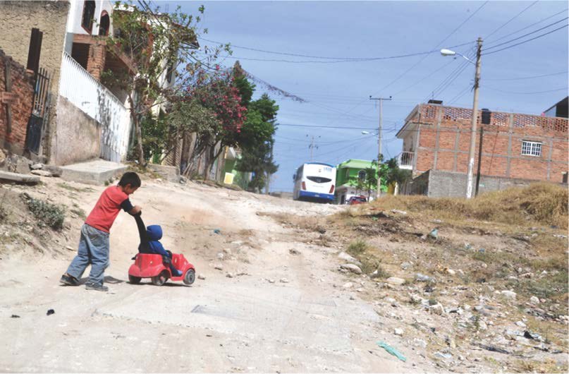 The street as a playground, in an underprivileged neighborhood of Zapopan, Mexico. Credit : Zapopan's Strategic Projects' Office