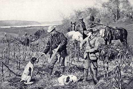 Despite the fact that Pointers in American field trial were usually not expected to retrieve, it seems that some did. And despite the fact that American field trialers did not want/need their dogs to drop to flush or shot, it seems that some did, as illustrated in the painting above by John Martin Tracy, circa 1890. Image courtesy of  Strideaway .