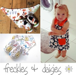 Freckles and daisies is all about retro inspired beautiful unique baby accessories and children's clothing for your little ones. Handmade to the finest quality each piece is designed and lovingly handmade by myself in my studio in Chepstow,  in the hope that it will inspire wonderful childhood memories for you and your loved ones. love Freckles xx