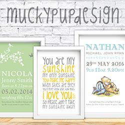 Are you looking for a unique gift that little bit different for a new bundle of joy…? Then check out Mucky Pup's personalised framed designs for new babies, christenings and nurseries. We also have a range of cheeky designs for all other occasions such as; Weddings, Anniversaries, Birthdays, Christmas, New Homes and much more... we even take requests!