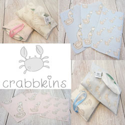 Crabbkins makes practical things pretty.  Crabbkins was established to fulfil an ambition of creating beautiful and unique fabrics and accessories for babies.  Crabbkins products make a welcome addition to any stylish changing bag or bespoke nursery; they also make an extra special gift for a new mother and baby.