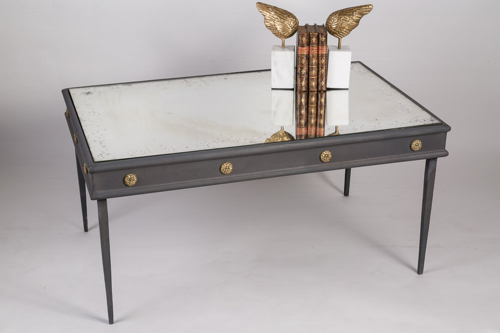 "Lafayette coffee table - zinc finish with brass medallions- "" quick ship"" --ready to ship"