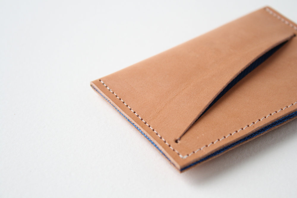 Product development -minimalist wallet. US vegetable tanned leather, biodegradable thread with contrast liner.