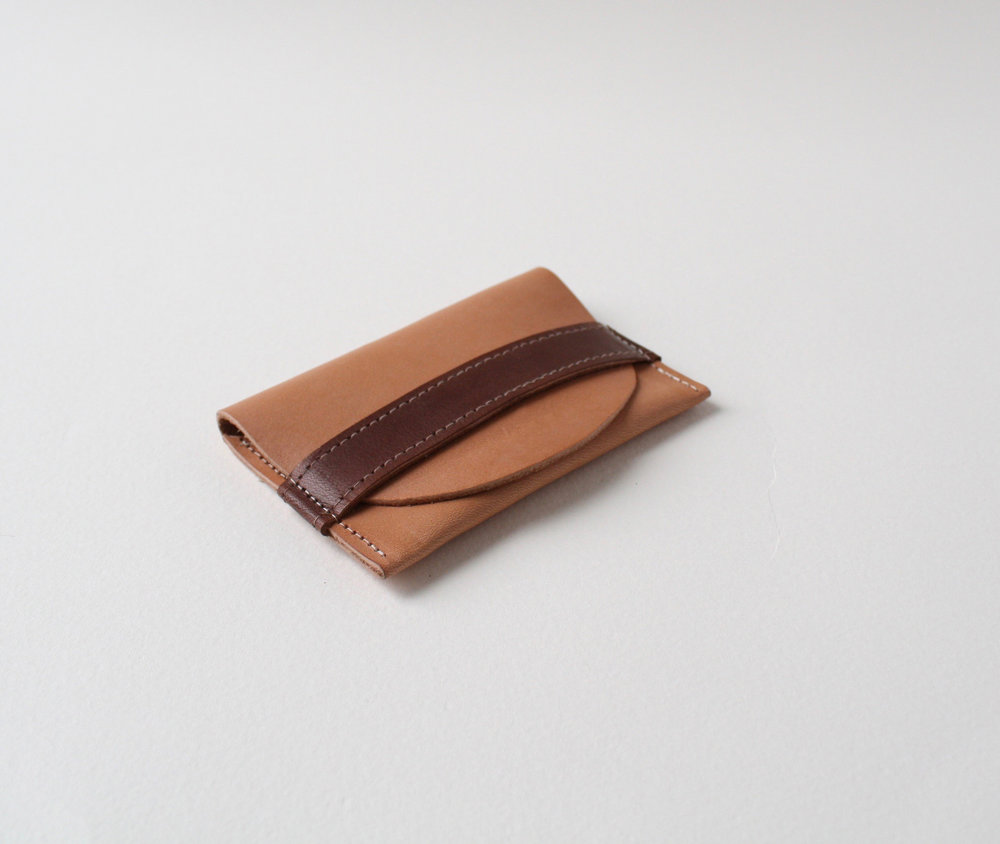 Product development.  Slim wallet with retention strap. US vegetable-tanned leather, biodegradable thread.