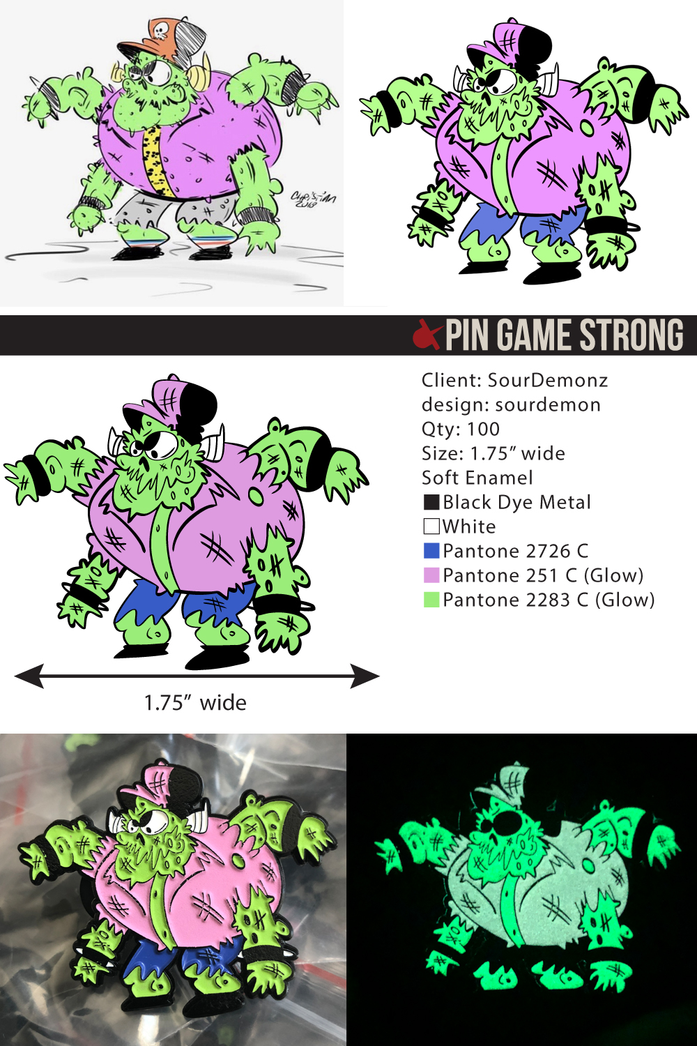 The evolution of a pin design! From a rough sketch, to a pin-ready raster, to vector format and our template… to a finished pin that glows in the dark! This design is by  Sour Demonz.