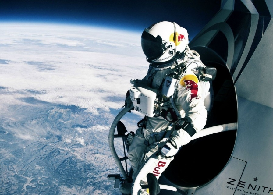 Felix Baumgartner preparing to jump from the stratosphere, 24 miles above the Earth.