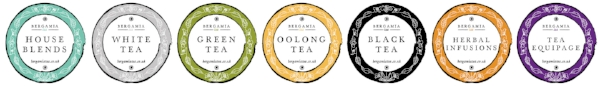 Brand tea categories - designs by OhhhKaye.co.uk for Bergamia Tea