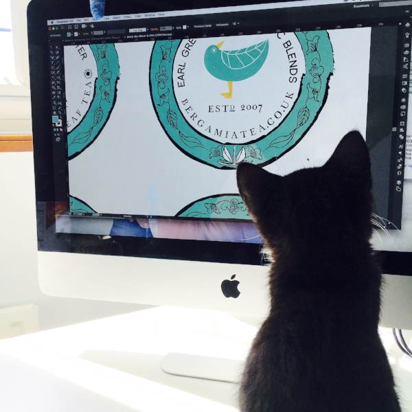 "OhhhKaye office assistant ""Ziggy"" giving his final approval to the designs!"