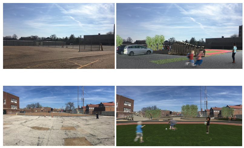Before and after images of the NCNAA playing field.