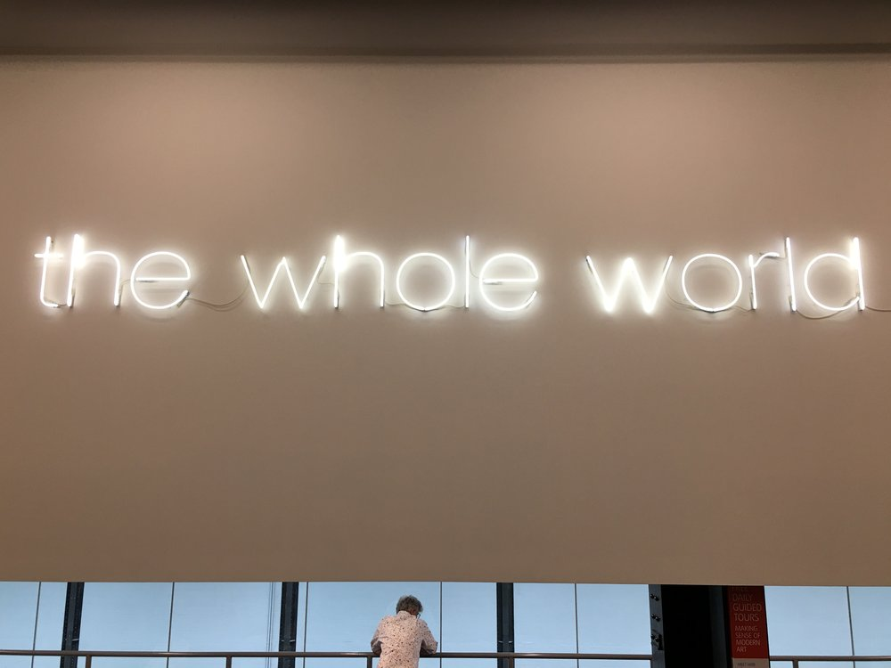 "London Tate Museum,  Martin Creed  ""The whole world + the work = the whole world"""