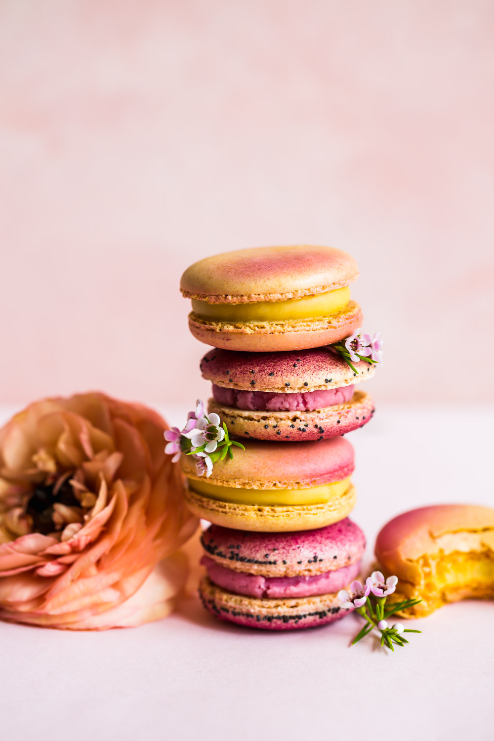 pink macarons with passion fruit filling