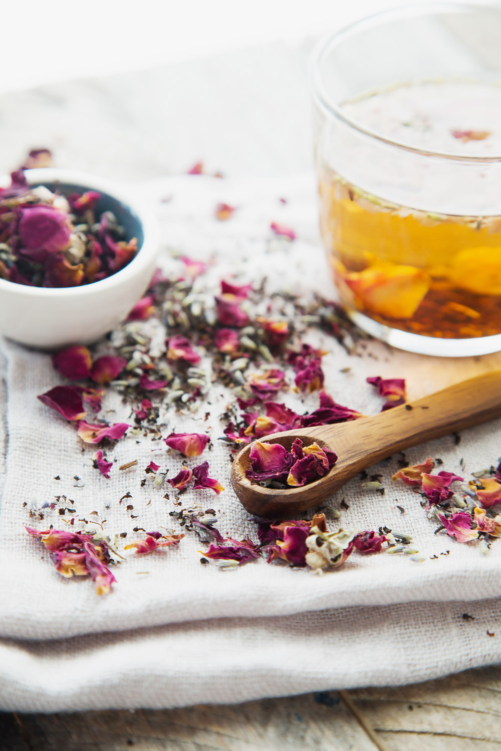 brewing rose petal tea