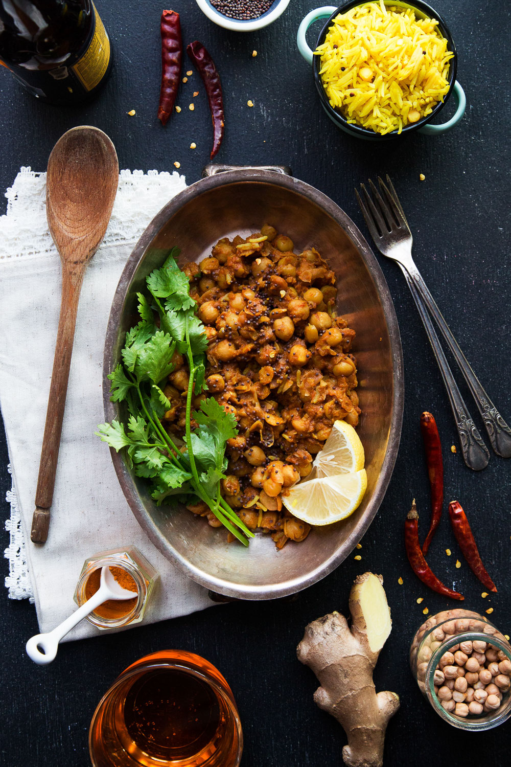 chana masala dinner table