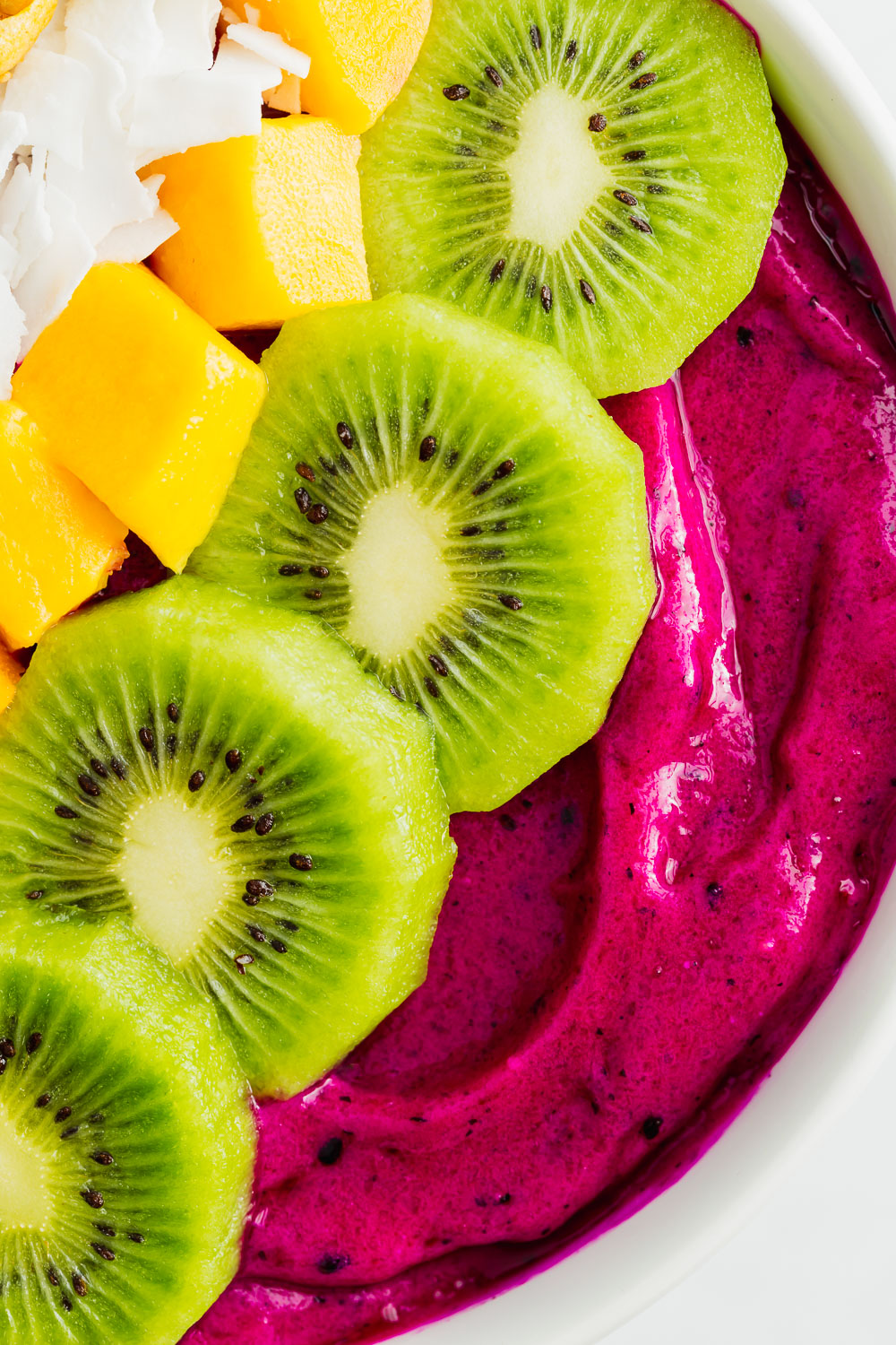 pink dragonfruit smoothie bowl up close