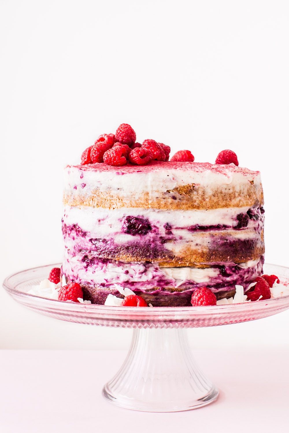 pink and purple berry layer cake