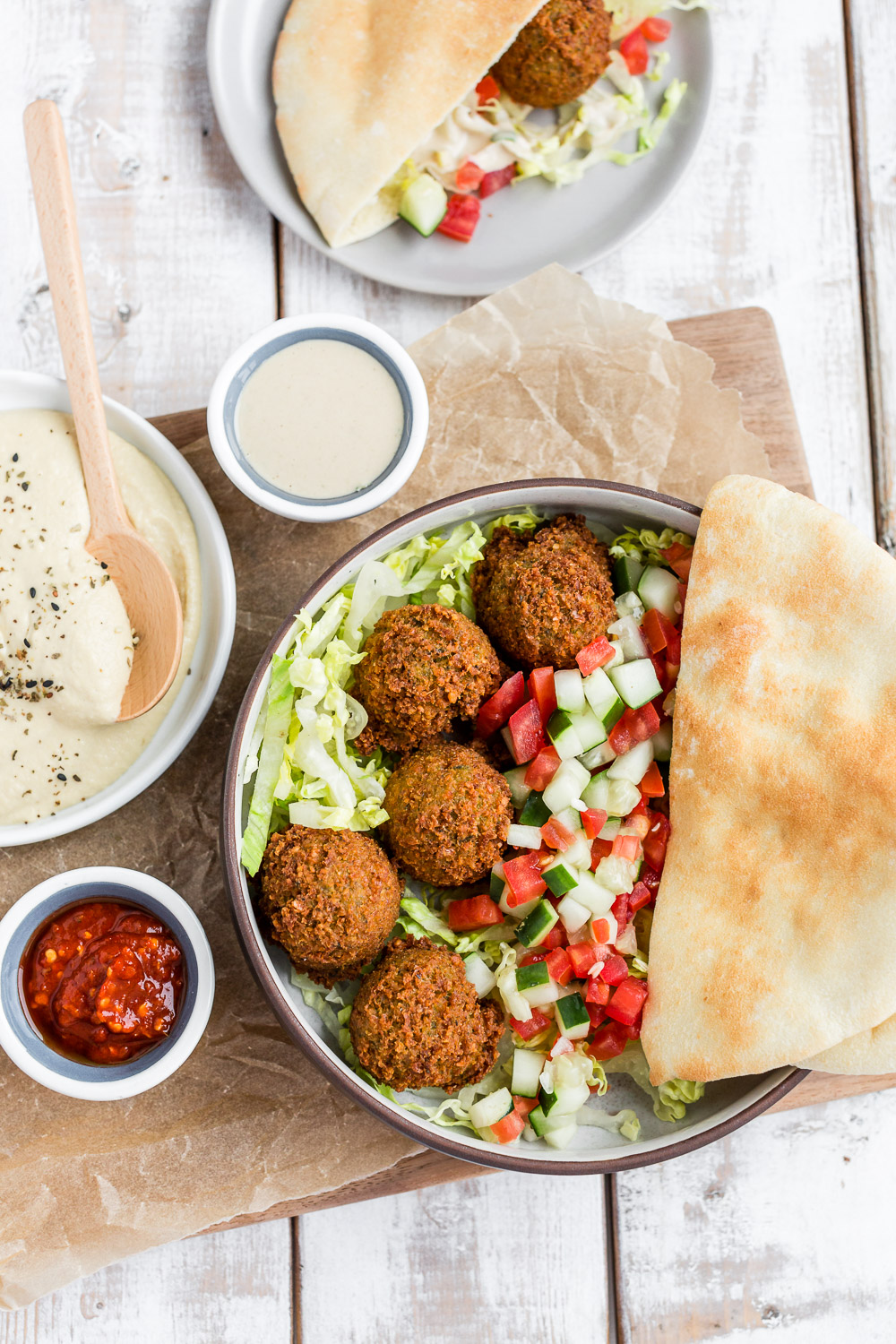 falafel with pitas, israeli salad, and hummus