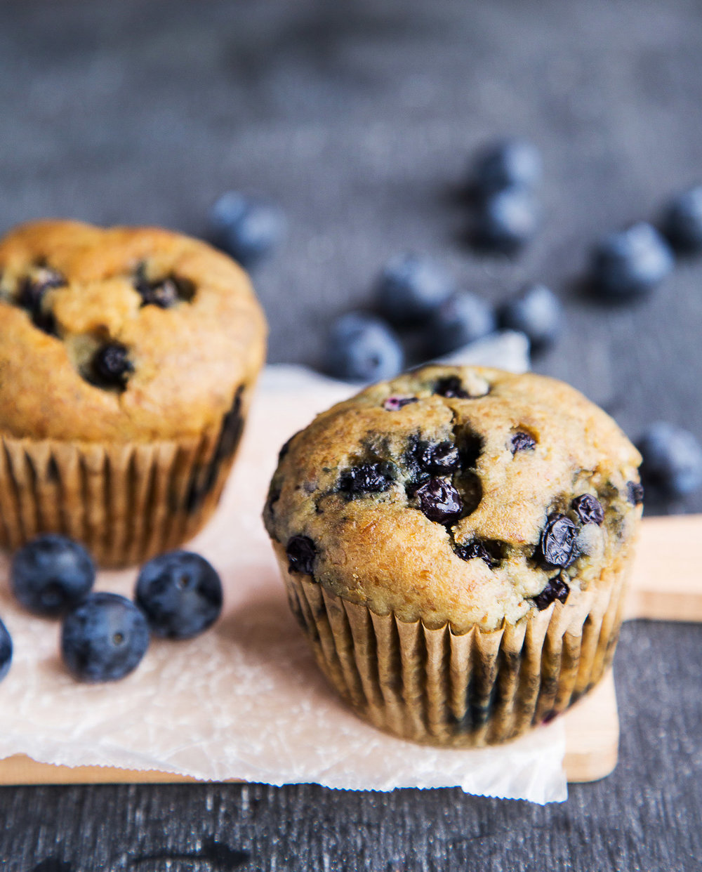 blueberry muffins and blueberries