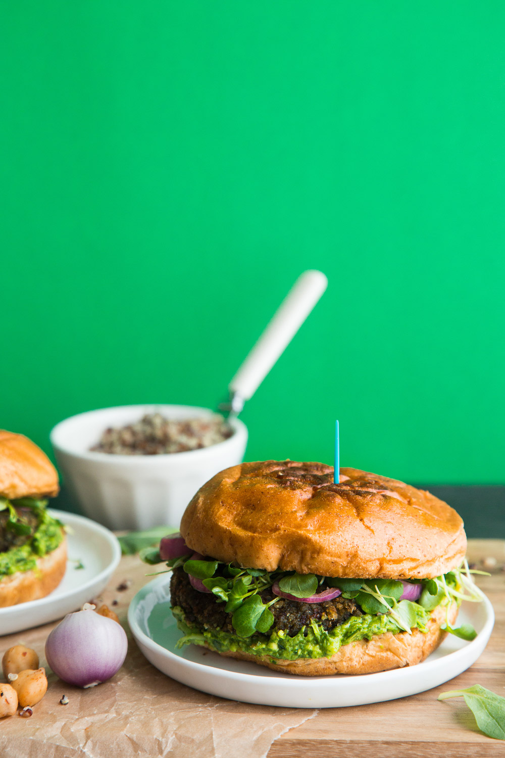 quinoa veggie burgers with greens