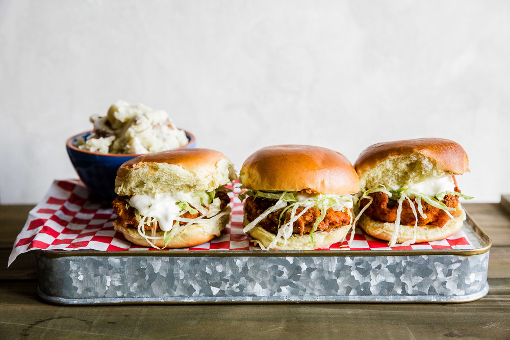fried chicken sliders with mashed potatoes
