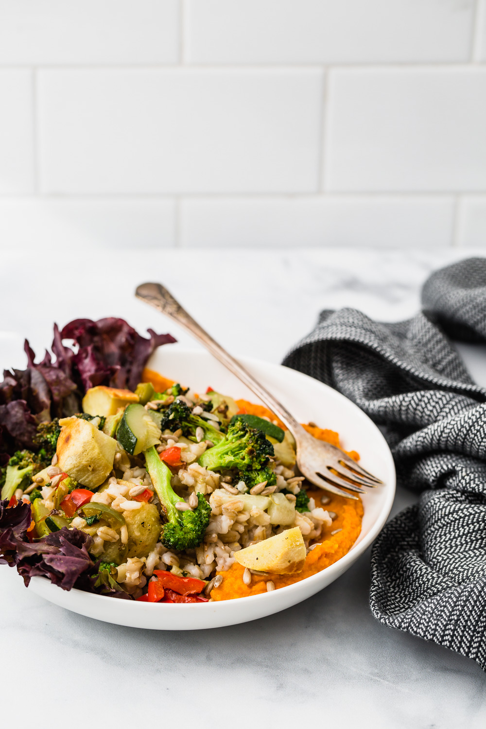 roasted vegetable grain bowl food photography