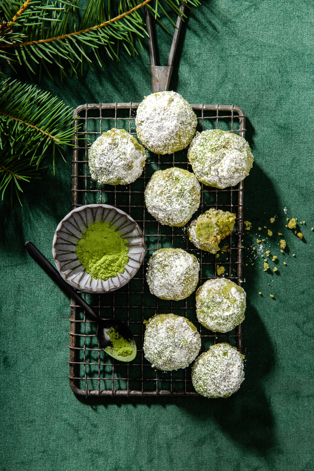 green matcha christmas cookies