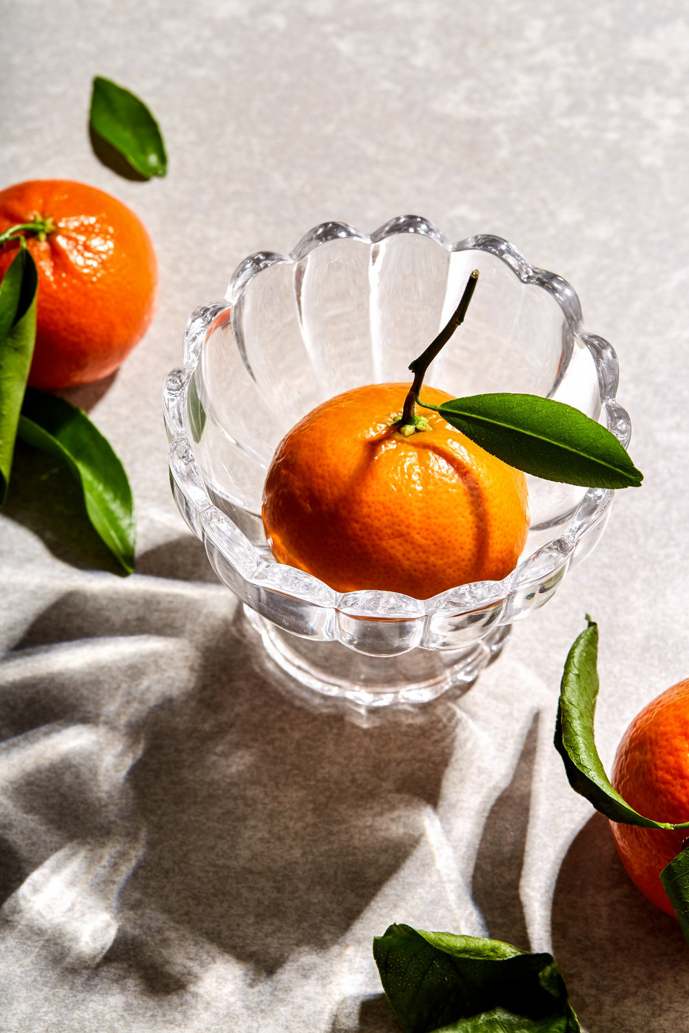 stem and leaf mandarin oranges