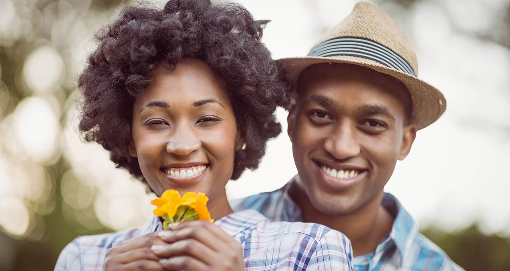 African American couple smiling photo
