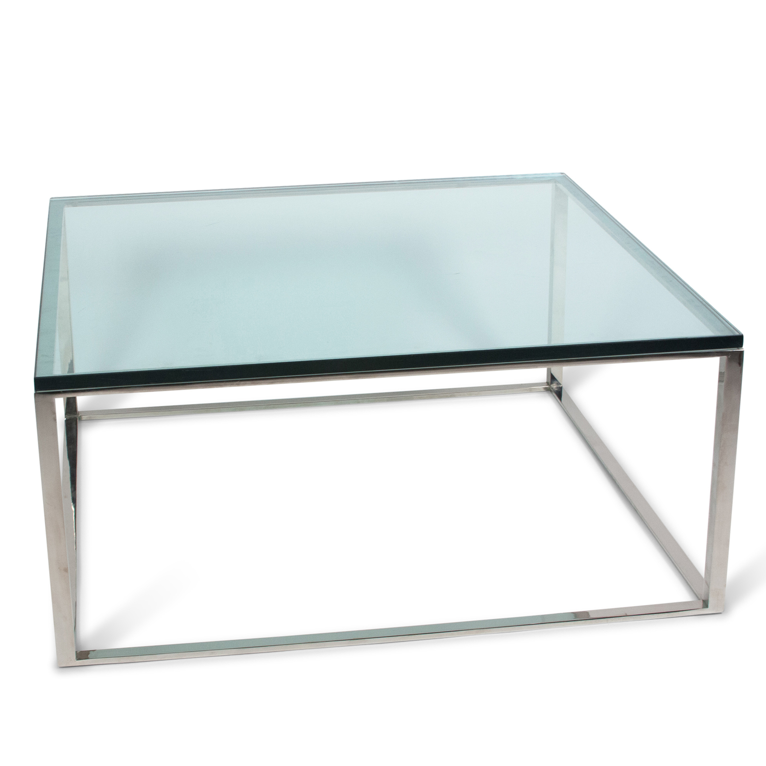 Square Chrome Box Frame Coffee Table, American 1970s - Square Chrome Box Frame Coffee Table, American 1970s — Jon Howell