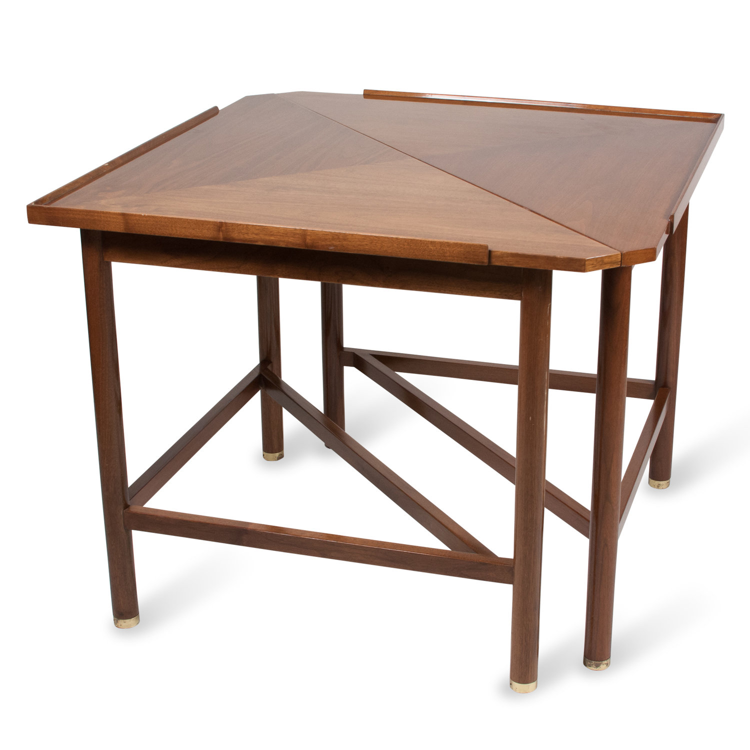 pair of triangular mahogany end tables by ed wormley — jon howell - pair of triangular mahogany end tables by ed wormley