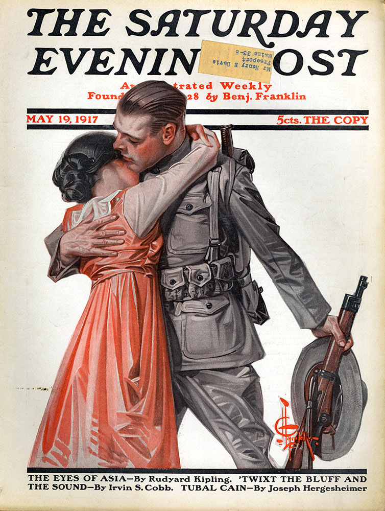 "With just these two characters actions combined with their costumes, what can we assume about their story?    J. C. Leyendecker - The Saturday Evening Post Magazine cover (May 19, 1917) ""Woman Kissing Soldier Goodbye"""