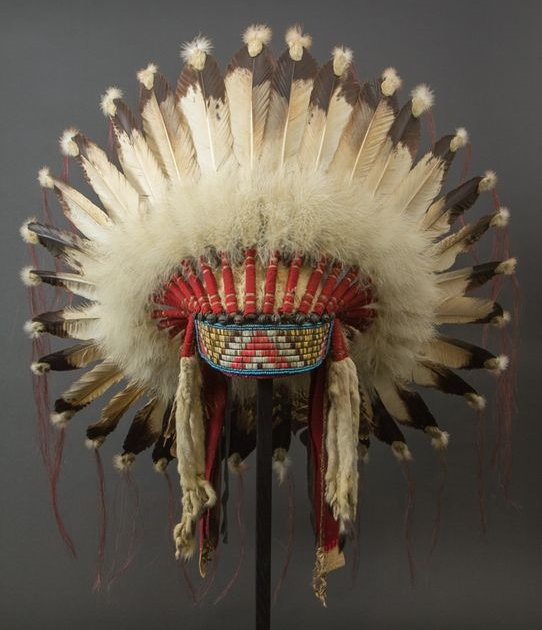 Chief War Bonnet - Front | Plains Indians, USA Eagle feathers, horsehair, beads, quill, fabric, fur. Circa 1920-1930